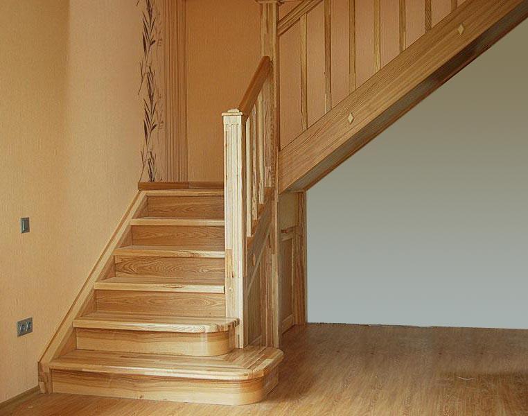 Г г-образная лестница на второй этаж своими руками 5